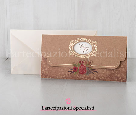 Invito nozze country chic marrone e avorio